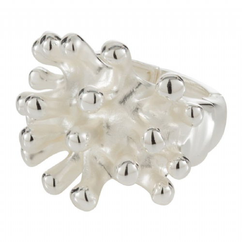 Coral Feature Silver Elasticated Size Free Ring